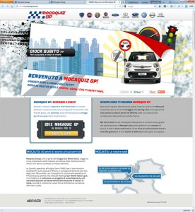 Minisito MocaquizGP, parte della strategia digitale di Mocauto