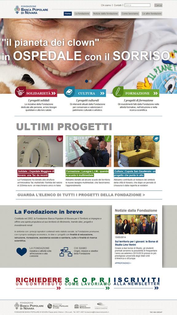 Home page sito Banca Popolare di Novara