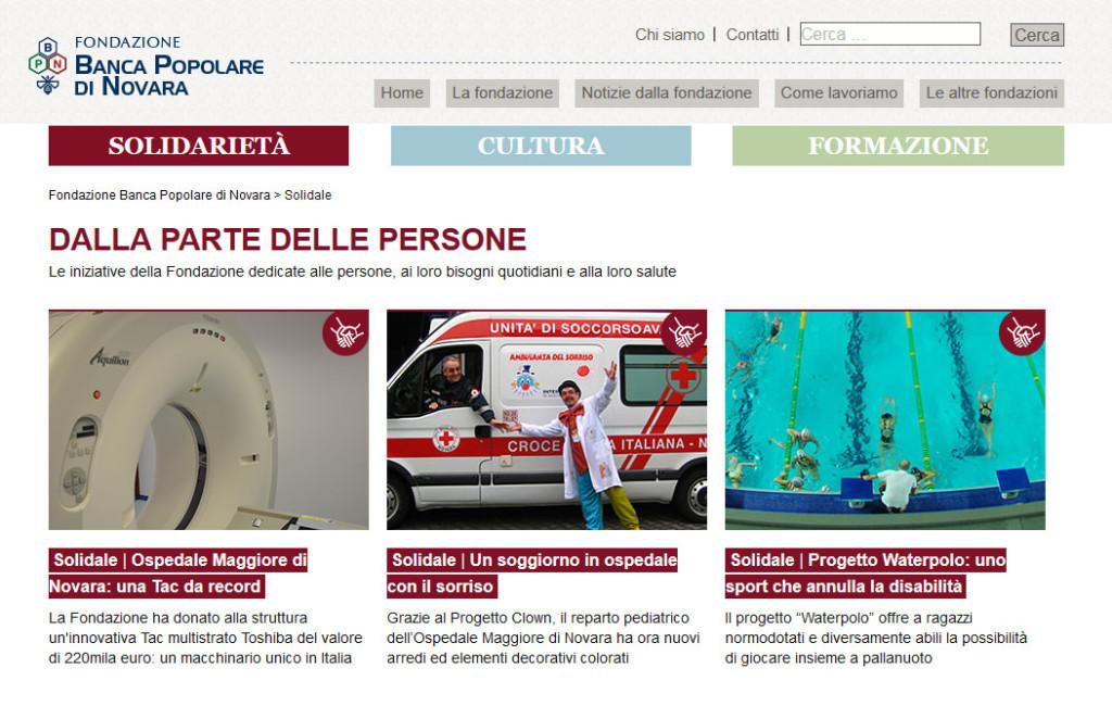 Sito Fondazione Banca Popolare di Novara