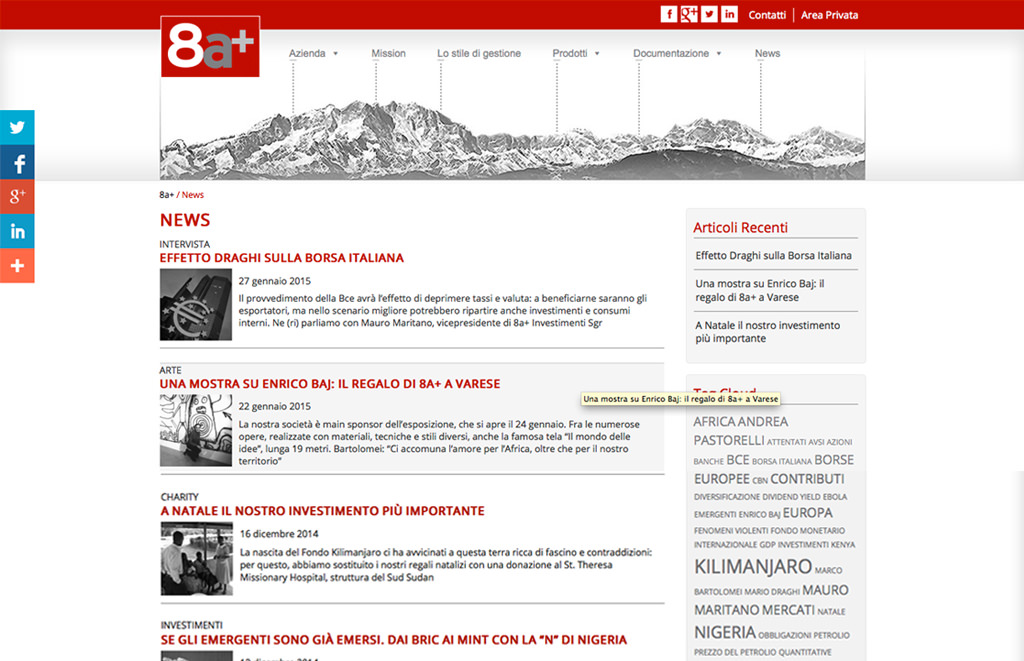Il nuovo sito web di 8a+