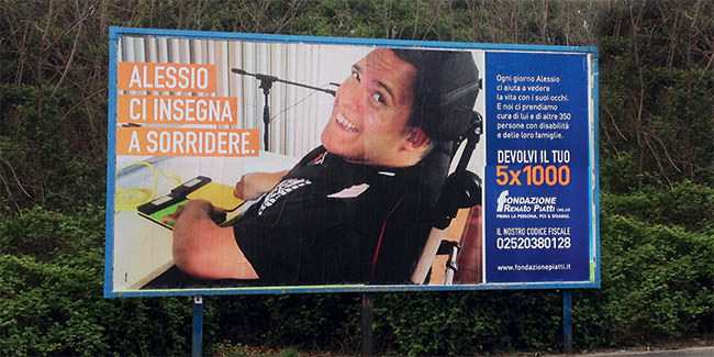 Campagna 5X1000 Renato Piatti: Alessio ci insegna a sorridere - affissione