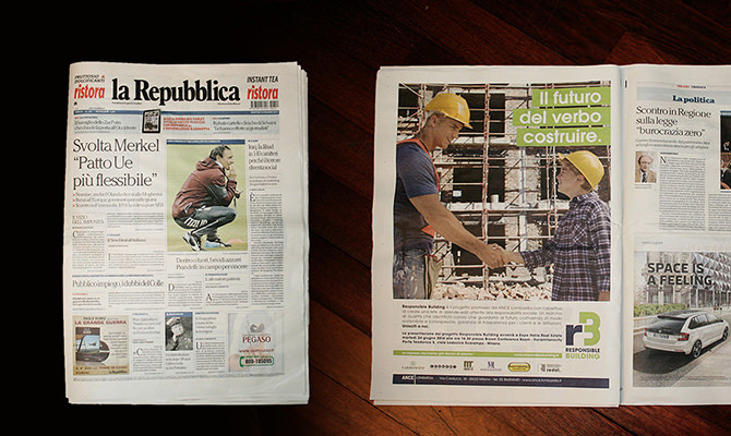 Campagna pubblicitaria Responsible Building su La Repubblica